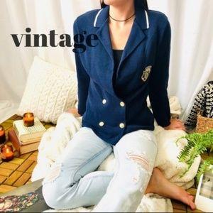 VTG Italian Crest Sweater Blazer Medium Navy D5